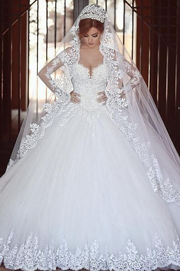 Luxury Chapel Train Natural Buttons Ball Gown Sweetheart Wedding Dresses