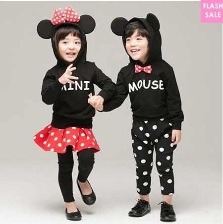 Cartoon Style Bowknot Brother Sister Set