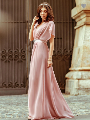 Maxi Long Flowy Chiffon Evening Dress with Short Sleeve